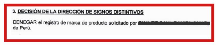 Marca Denegada Perú